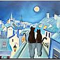 Le chat poète et la lune