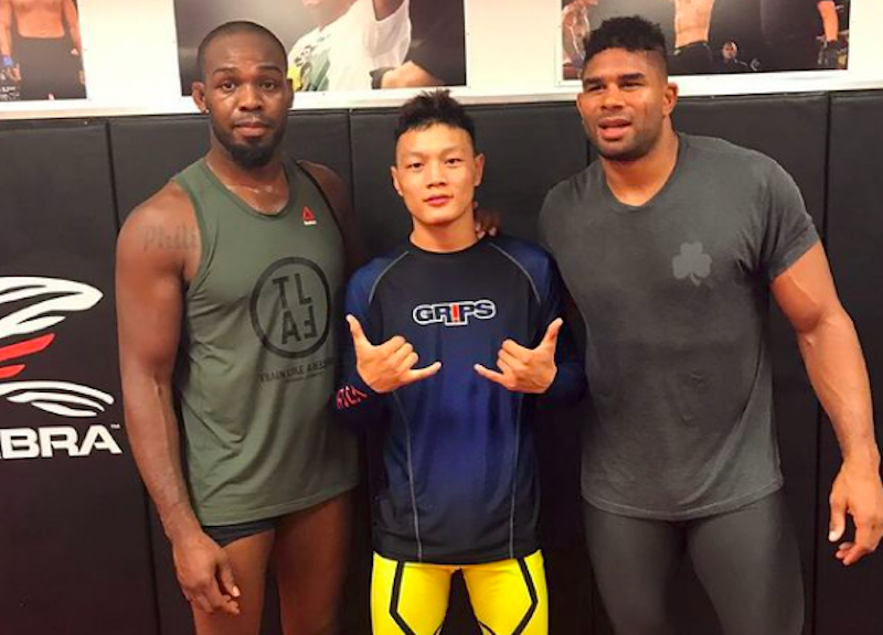 Dorji-M-with-UFC-legends-Jon-Jones-L-and-Alistar-Overeem-R