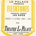 Fleshtones - jeudi 15 avril 1982 - le palace, paris