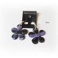 Boucles d'oreille fleur œil de tigre viole/noir Bo35 2014