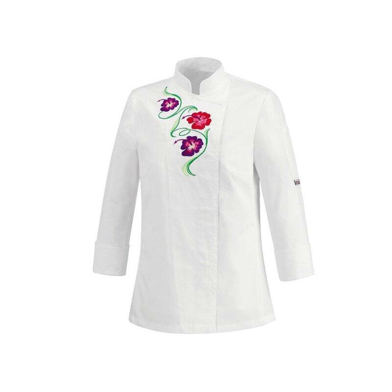 veste-de-cuisine-femme-blanche-fleur