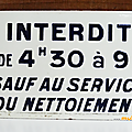 Collection ... plaque emaillee * interdit de 4h30 à 9h