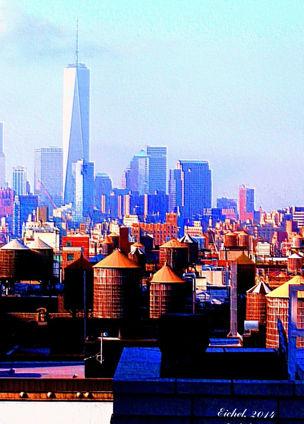 NEW-YORK 2014 FREEDOM TOWER VUE DES TOITS DE CHELSEA