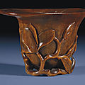 A rhinoceros horn libation cup, 17th century