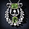 Antique peridot, diamond and pearl necklace