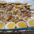 Salade de riz thon maïs et oeuf