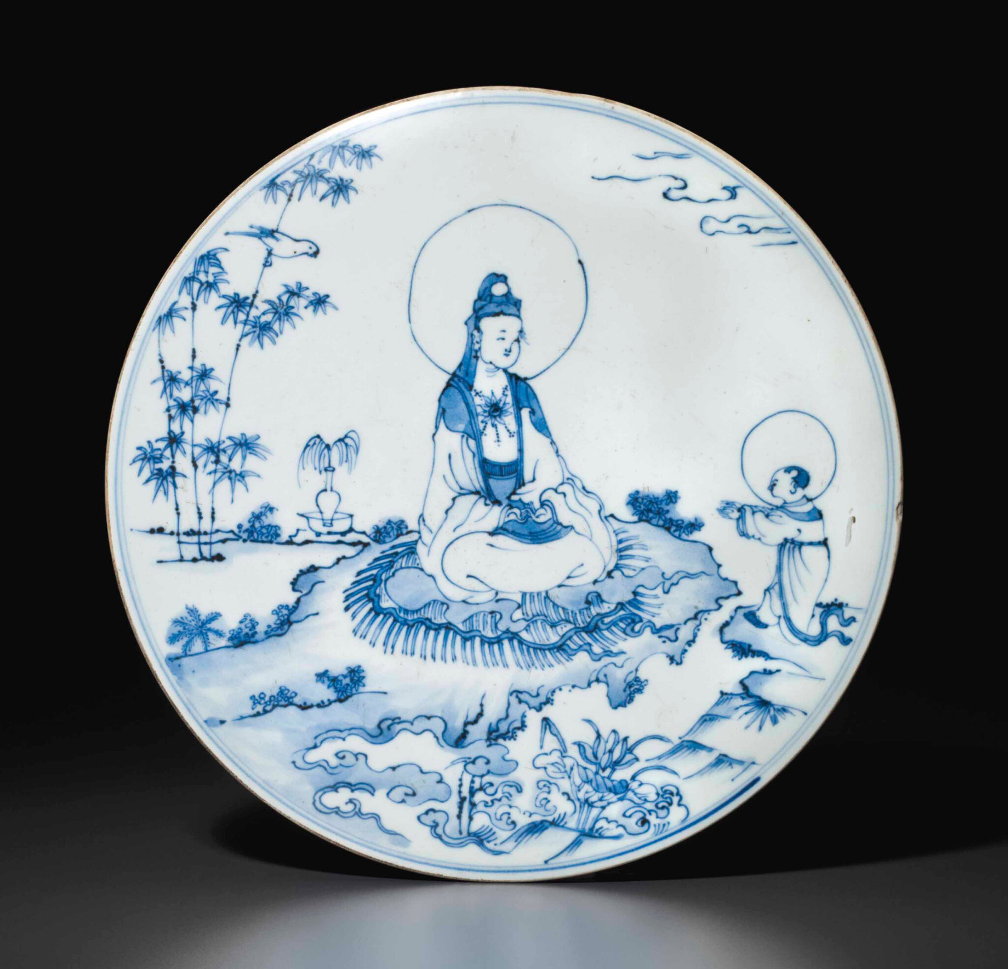 A rare blue and white circular plaque, Chenghua period (1465-1487)