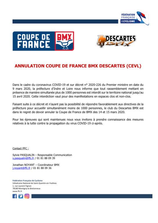 Communiqué FFC - ANNULATION CDF 1-2