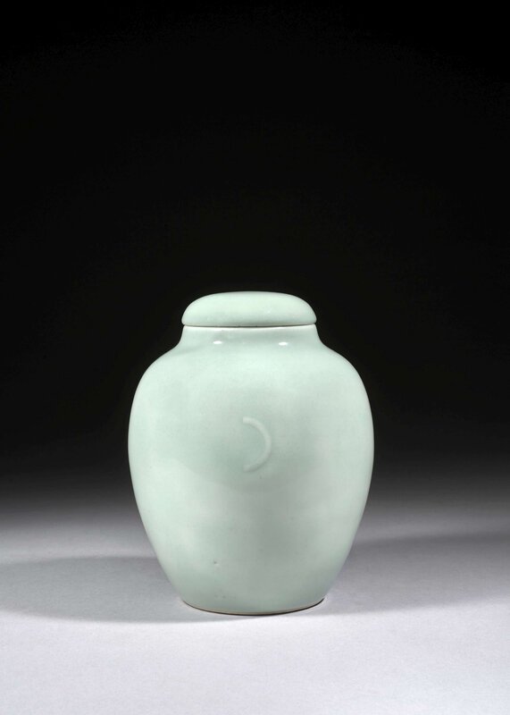 A celadon-glazed ovoid jar and cover, Yue Ya Er Guan, China, Qing dynasty, Qianlong mark and period (1736-1795)