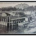Travaux du métropolitain dans le grand bras de la Seine - Fonçage du caisson central