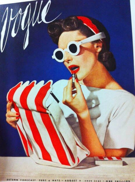 vogue-cover-1930s-woman-with-white-sunglasses-red-lips-red-and-white-stripe-bag
