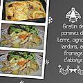 Gratin de pommes de terre, oignons, lardons, au fromage d'abbaye