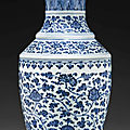 A large blue and white vase, 18th-early 19th century