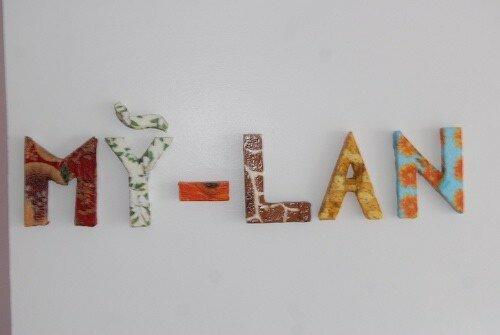 papiers et 3D pour les lettres de ma fille aînée