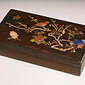 A rectangular inlaid zitan box and cover, qing dynasty, kangxi period (1662-1722)