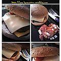 Double cheese-burger express aux tomates-cerises, salade tomates/mozza