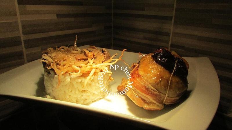 Paupiettes pintade farcie poulet farci soja frais et riz 024-