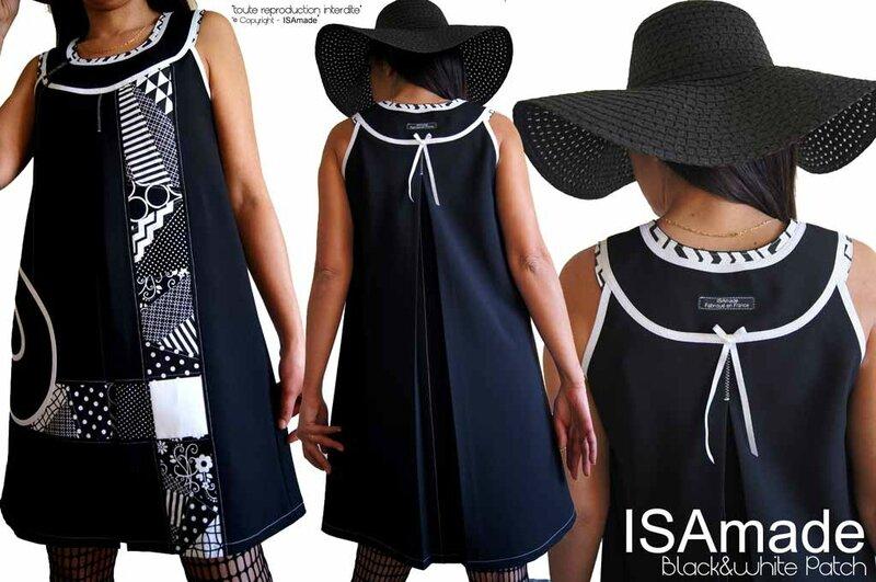 MOD-472B-robe noir & blanc graphique chic élégante trapèze made in France originale habillée printemps 2017 ISAmade
