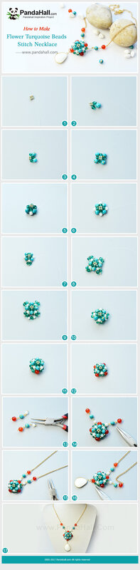 4-Flower Turquoise Beads Stitch Necklace