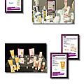 PLV produits pour Showroom soirée Victoires de la beauté (Indesign)