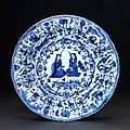 Kraak dish decorated with Persian ladies, Jingdezhen, China, 17th centur