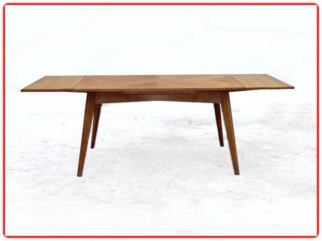 table vintage 1960 chêne clair rénovée