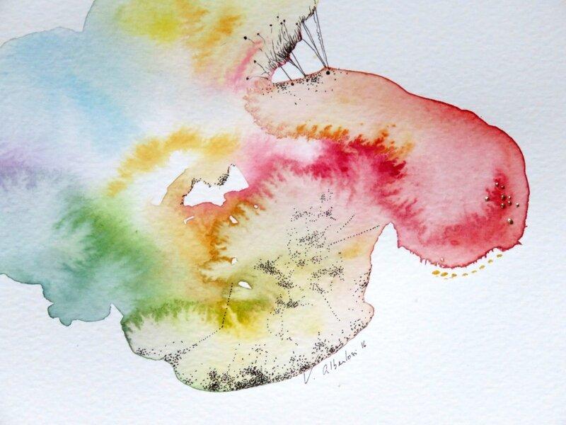 détail art abstrait valerie albertosi aquarelle