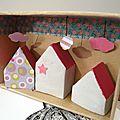 Matchbox boîte petites maisons d'argile étiquette gift tag washi tape cloud