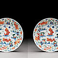A pair of wucai 'fish' dishes, kangxi period (1662-1722)