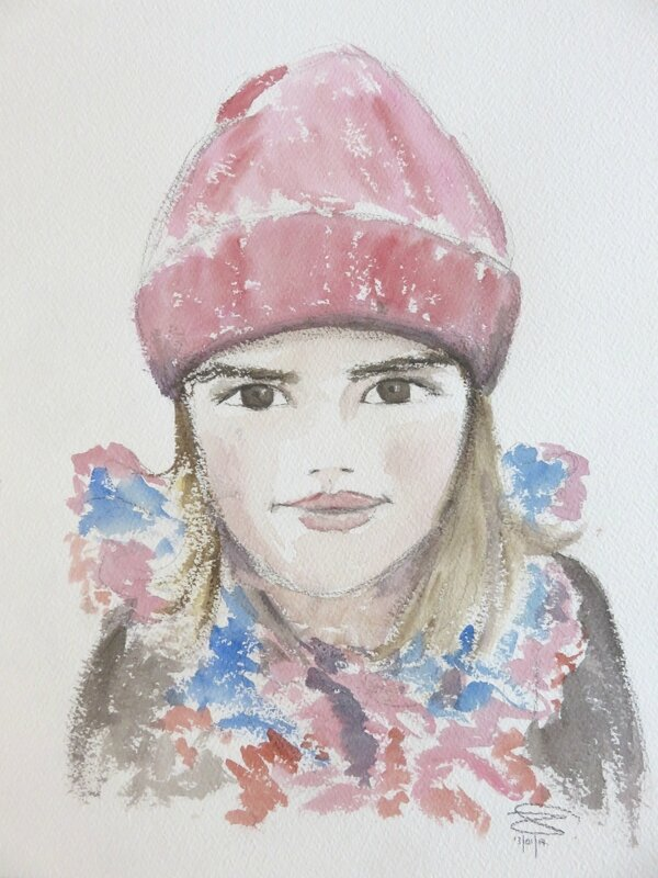 Petite fille au bonnet rose