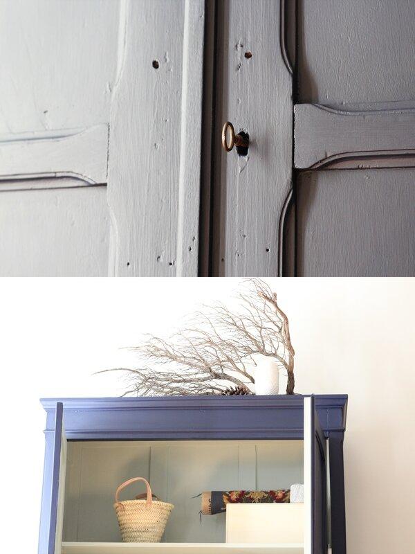 Armoire penderie bleu nuit mobilier vintage désuet rétro TRENDY LITTLE 8