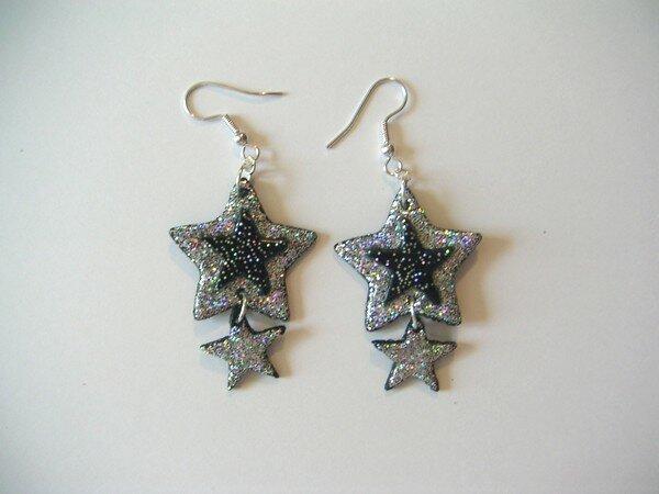 Boucles doubles étoiles argent