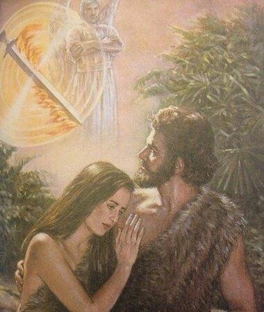 Adam et Ève- Expulsés du Jardin avec seule une peau de bête