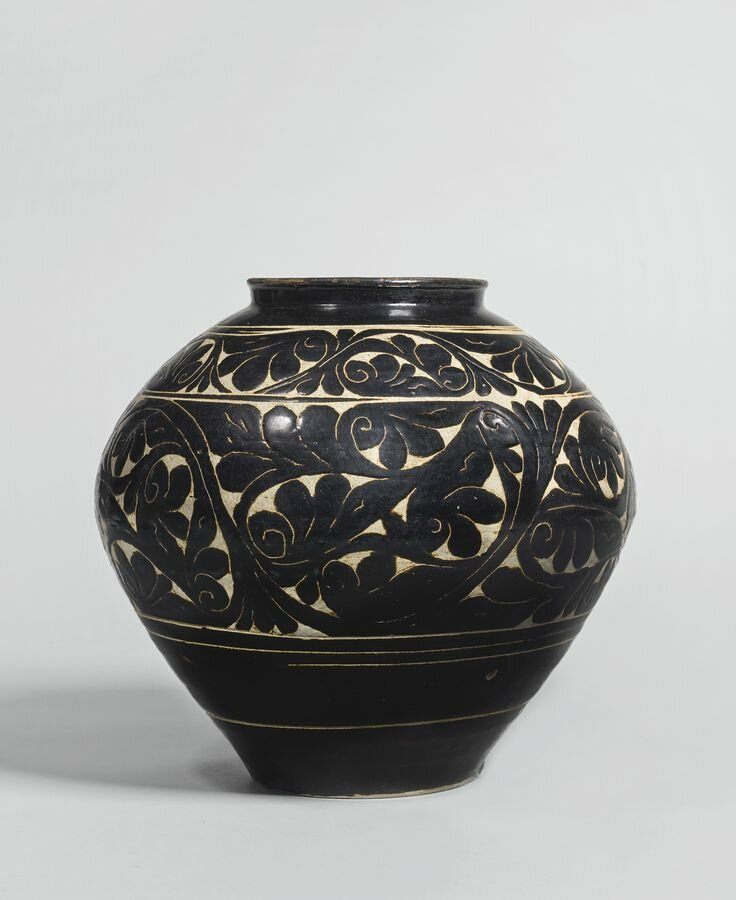 A black-glazed sgraffito jar, Jin - Xixia dynasty
