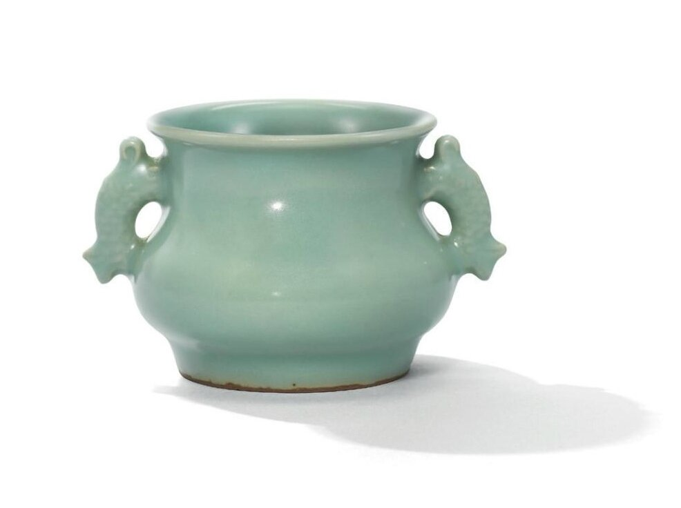 A fine small Longquan celadon fish-handled censer, Southern Song-Yuan dynasty (1127-1368)