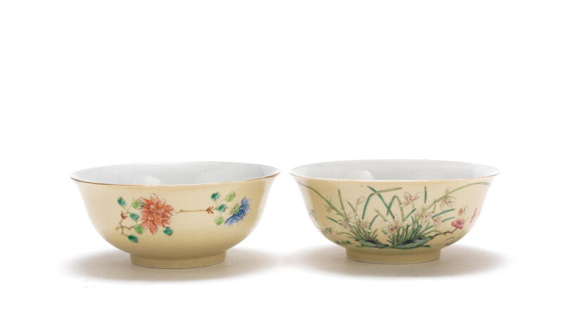 A pair of café-au-lait ground 'floral' bowls, Daoguang seal marks and of the period (1821-1850)