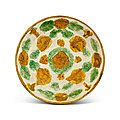 A sancai moulded 'floral' dish, liao dynasty (907-1125 ad)
