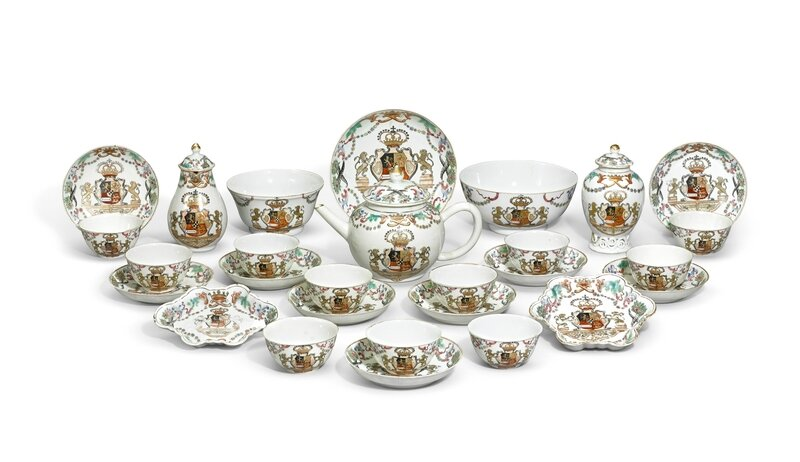 A Chinese export armorial famille-rose tea set with the coat-of-arms of the House of Orange, Qing dynasty, circa 1747