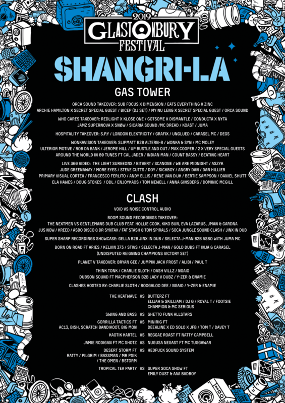 Glastonbury_festival_2019_Shangri La_Shangri-La_Clash stage_Gas Tower stage_line-up_programmation_poster_affiche