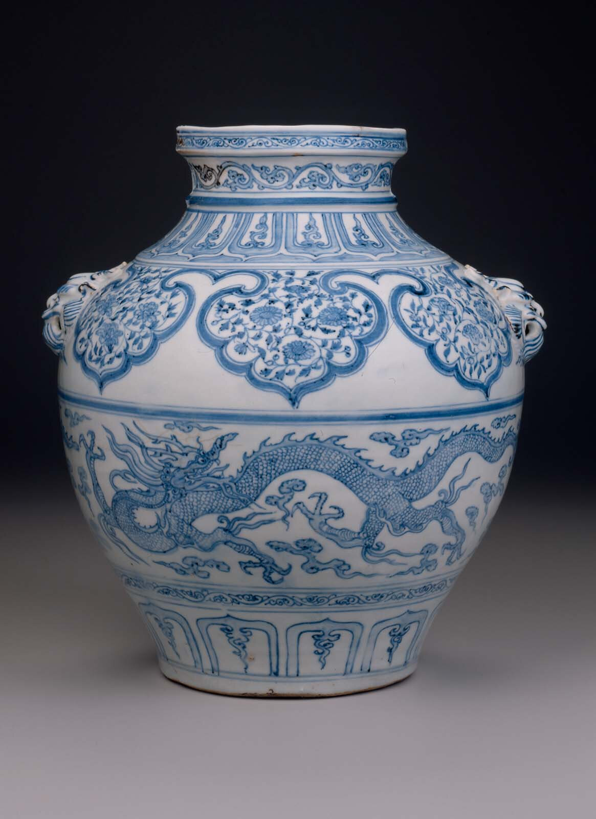 Guan-type jar with lion's-head handles, Yuan dynasty, mid-14th century