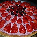 Tarte chocolat blanc et mousse de fruits rouges