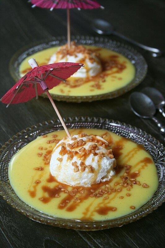 Iles flottantes au micron ondes au caramel beurre salé