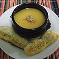 Soupe panais et courge butternut avec son mini feuilleté mimolette épicé
