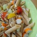 ¤¤¤ encore une idée légère ? pâtes complètes au surimi, tomates cerise, concombre et fromage frais