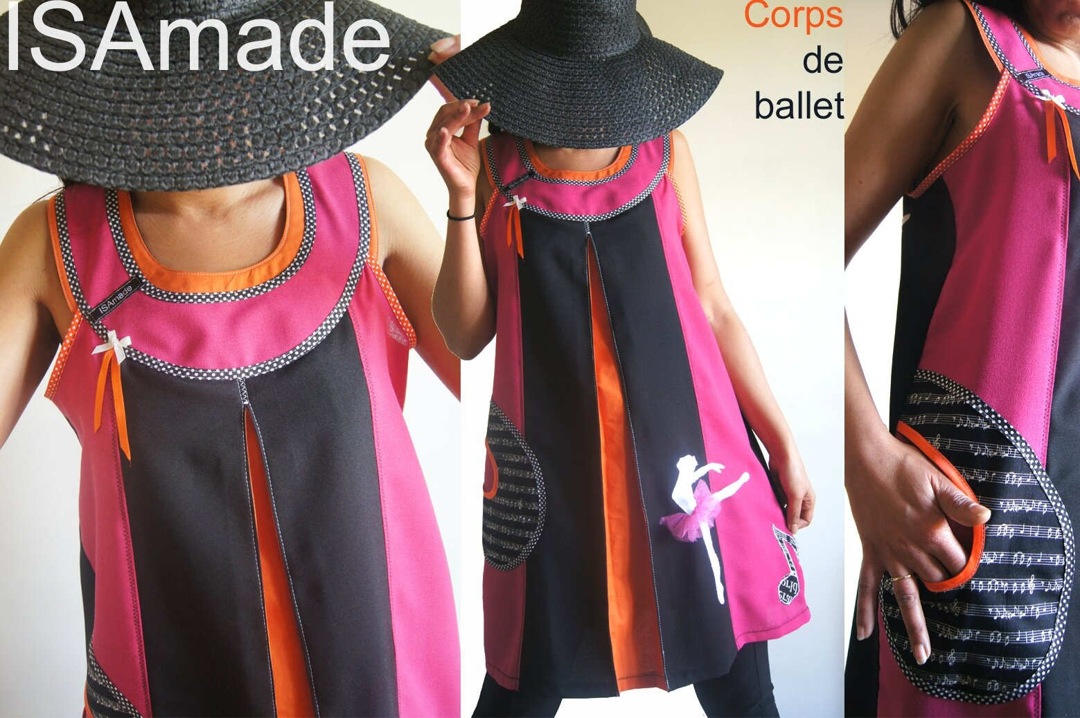 Robe Chasuble Noire/fuchsia orange d'esprit sixties