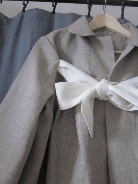 manteau d'été en lin brut noué d'un lien de lin ivoire - taille 44 (5)