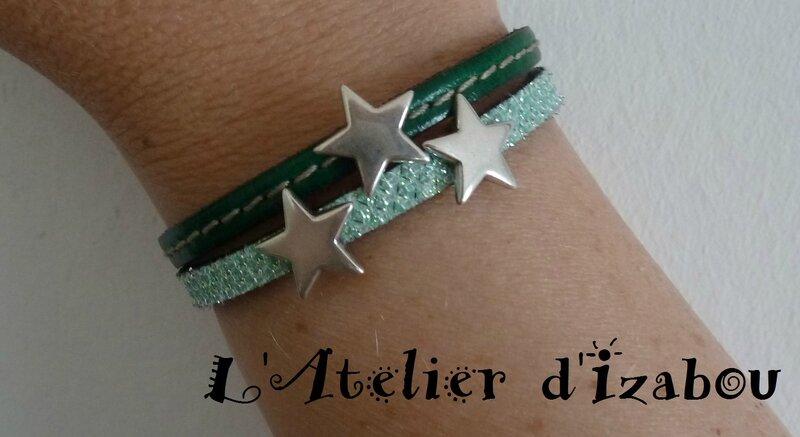 P1130372 Bracelet femme étoiles cuir vert cousu et cuir vert paillettes, fermoir aimanté