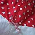 Culotte BIANCA en coton imprimé rouge à pois blanc - Dos imprimé et uni blanc - noeud de vichy rouge (1)