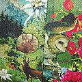 Veste VICTORINE en toile de coton imprimée montagne du tyrol - Doublure de satin noir (7)