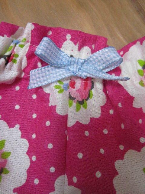 Culotte BIANCA en coton fushia imprimé médaillons de rose - noeud de vichy ciel (3)